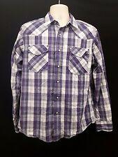 Mens Artful Dodger Pearl Snap Long Sleeve Purple Shirt Size Large