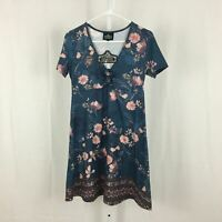 Angie Nordstrom NEW Women's Size Medium Cute Blue Pink Floral A-Line Dress NWT
