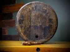 Vintage Blue Grass Valley Fire Bourbon Whiskey Barrel Wood Head Top Sign RARE