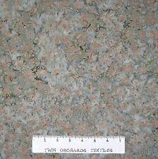 Bali Batik Fabric - Brown Retro Starburst on Moss Green - Cotton YARD