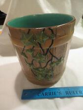 """Gouda Holland Delft Art Pottery Oak Bucket Barrel 7"""" Vase Flower Pot Zuid Royal"""