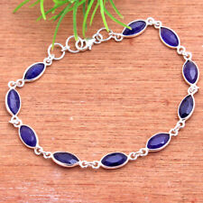 "Faceted Blue Sapphire Handmade bracelet 925 sterling silver Designer jewelry 8"""