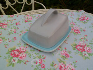 Poole Pottery Twintone Sky Blue Dove Grey Cheese Dish