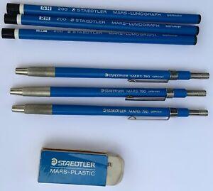 Staedtler Mechanical Pencil Mars Germany & Lumograph 200 Refills 4H-2H-H