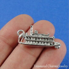 Silver RIVERBOAT CHARM Steamboat Cruise Ship PENDANT *NEW*