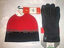 Spyder Men's Reversible Beanie Hat & Gloves Set Volcano Red & Black Stryke