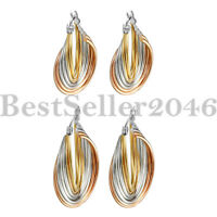 Women's Tri-color Surgical Stainless Steel Twisted Polished Hoop Earrings 2pcs