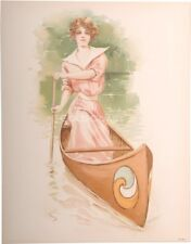 Woman Rowing Canoe/Crew 1908 Victorian 10x13 Color Litho Print- Chromolithograph