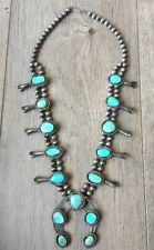"VINTAGE (5.72 OZ.) 26"" LONG NAVAJO TURQUOISE & STERLING SQUASH BLOSSOM NECKLACE"