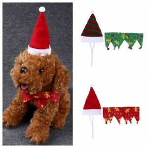 Christmas Hat&Collar for Dogs Pet Cat Xmas Green Red Holiday Costume Santa Cap