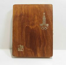 Vintage wooden Soviet chess with Olympic symbolism