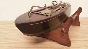 Old Clock Work Motor Boat Model~Keywind Speedboat~Toy