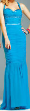 New Womens Authentic Faviana Couture Evening Formal Gown Dress Turquoise Size 2