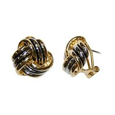 TWO TONE LOVE  KNOT HOOP-OMEGA-FRENCH BACK EARRINGS 17MM