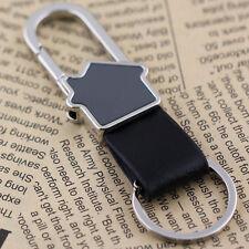 2pcs Black Leather House Keyring Keychain Key Chain Ring Keyfob Belt Clip 84036
