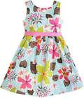 Flower Girl Dress Blue Flower Print Children Clothing Size 2-10 Pageant Formal