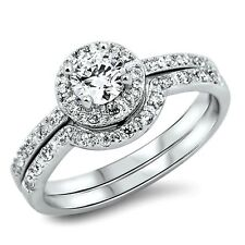 .925 Sterling Silver Wedding set size 9 Round cut Engagement Ring Bridal New w85