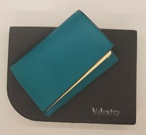 VALEXTRA green Pebbled/embossed Leather business CARD HOLDER black edge S15 NIB