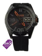 Boss Orange Uhr Herrenuhr Silikon Edelstahl Schwarz Grau Analog 1513452