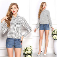 Trendy Womens White Chiffon Polka Dot Printed Tops Blouse Loose Casual Tee Shirt