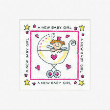 Heritage Crafts Biglietto D'auguri Punto Croce Kit-New BABY GIRL