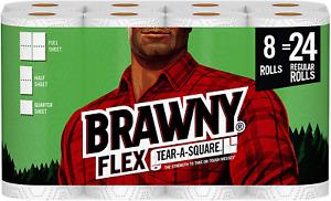 Brawny Flex Paper Towels, 8 Triple Rolls = 24 Regular Rolls, Tear-A-Square, 3 Sh