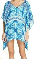 La Blanca Resortwear Blue Caftan Swimsuit Beach Cruise Cover-Up Tunic 8 10 S/M