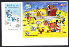 1989 Redonda Space Anniversary Moon Walk Walt Disney First Day Cover Sheet FDC
