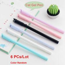 6pcs Cute Cat Gel Pen Black Ink Pen Kawaii Stationery School Office Supplies New