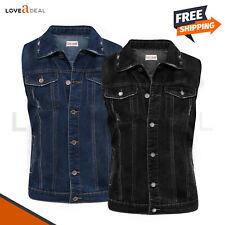 Jeans Denim Sin Mangas Botón Chaqueta Abrigo Prendas de abrigo Chaleco Para Hombre Estilo Clásico