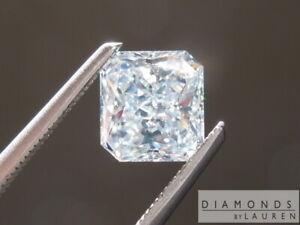 1.01ct Bluish Green SI2 Radiant Cut Diamond R7485 Diamonds by Lauren