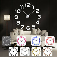 3D Frameless Wall Clock Mirror Mute Stickers Adhesive Living Room Bedroom Decors