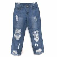 RUE21 R21 High Rise Ankle Straight Jeans Ripped Cropped Crop Rip Distressed 8