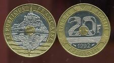 FRANCE  20 FRANCS 1992 MONT ST MICHEL 5 serie stries V fermée     ( etat )
