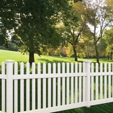 4x8 PVC VINYL DENVILLE TRADITIONAL PICKET STRAIGHT TOP FENCE PANEL w/POST & CAP