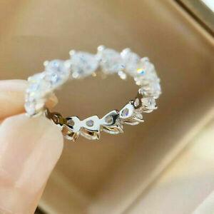 Elegant 925 Silver Rings for Women Heart White Sapphire Wedding Jewelry Sz 9