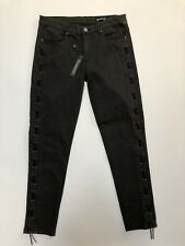 Blank NYC Women's Jeans 30 Gray Grey Skinny With Black Leather Gromet Detail New