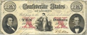 1861 $10 CIVIL WAR CONFEDERATE CURRENCY ~ T-26 FINE LACE ~ BOLD EXTREMELY FINE
