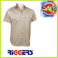 3 x RIGGERS Short Sleeve Epaulette Poly Cotton Work Shirts Bone Sizes M L XL 2XL