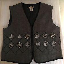 Talbots Large Grey Herringbone Snowflake Wool Blend Vest Zip Line EUC