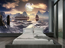Moon Planet Space Rocks Dark Water Wall Mural Photo Wallpaper GIANT WALL DECOR
