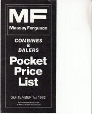 Massey Ferguson Combines & Balers Pocket Price List 1982