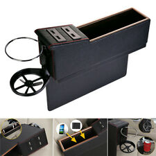 Car Auto Seat Gap Main Driver Storage Console Box Organizer PU Leather Universal