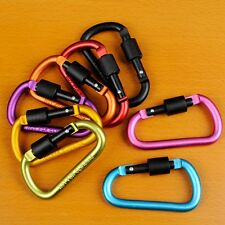 5X D Ring Shape Carabiner Spring Snap Key Chain Clip Hook Lock Outdoor Buckle US