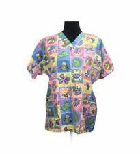 Hq Scrub Top Rainbow Floral Butterflies, Frogs, Dragonflies, Etc. Size 