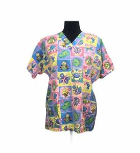 HQ Scrub Top Rainbow Floral Butterflies, Frogs, Dragonflies, Etc. Size Small S