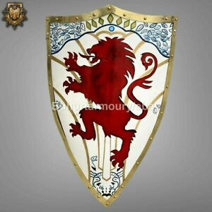 Medieval Functional Warrior Shield Lion Painted
