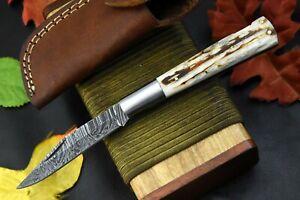 Hand Forged Damascus Steel Folding Knife Handmade Jigged Camel Bone Handle(C187Q