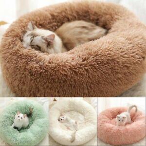 Pet Dog Cat Calming Bed Round Nest Warm Soft Plush Sleeping Bag Comfy Fluffy @