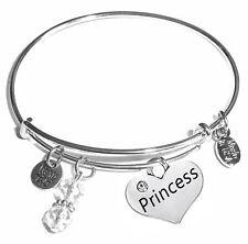 Comes in a Gift Box! Princess, Message Charm Expandable Bangle Bracelet,